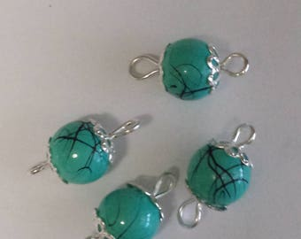 5 connectors 8mm turquoise mesh glass beads black