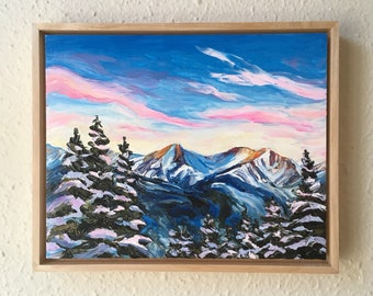 Rocky Mountain Sunset  - framed original oil painting