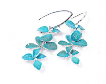 Turquoise Earrings, Silver Dangles Hoop Earrings for Women, Xmas Ideas, Enamel Drop Earrings, Nature Inspired Jewelry, Buy Christmas Gifts