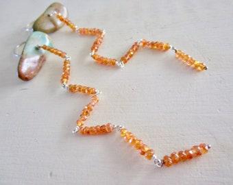 Turquoise & Mandarine Spessartite Garnet LUXE Gemstone Earrings - Super Long - Sterling Silver - Etsy Jewelry - catROCKS - Grace and Frankie
