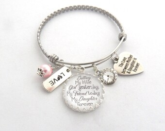 DAUGHTER GIFT-Daughter Bracelet-Gift for Bride from Mother-Gift from Mom to daughter-Daughter Charm Bracelet-Chunky MOTHER Daughter Jewelry