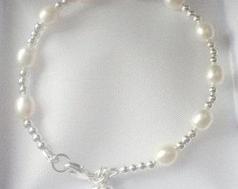 White Pearl Heart Charm Bracelet