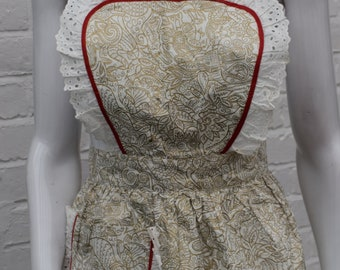 Vintage 1950s  Cotton Sateen Frill Gold Print Apron Heart Bodice Nearly New Cond