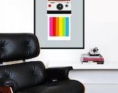 Polaroid poster print photography eames SX70 Mid century modern vintage retro camera kitchen art - Instant Rainbow SX-70 50 x 70 cm
