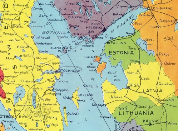 1940s Vintage Map of Scandinavia during World War II