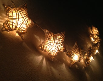 35 Bulbs White Star Rattan string lights for Patio,Wedding,Party and Decoration