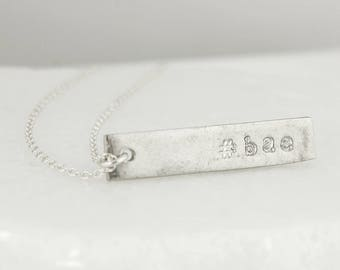 Silver Custom Hashtag Word Necklace - Bar Necklace - Personalized Gifts
