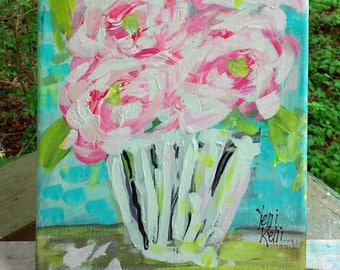 """Spring Special Abstract Flowers in Pot Pink Roses Original Painting 8"""" x 10"""" Ready to Ship YelliKelli"""