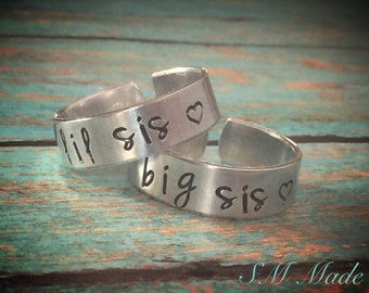 Big sister, little sister ring set  - hand stamped ring - very sturdy ring - great gift - fun piece of jewelry