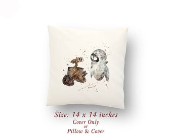 "Wall-E and Eva Watercolor Pillow Cover or Cushion Size: 14"" x 14"""