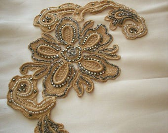 1920s antique lace embroidered with beads and rhinestones applique 3-dimensional
