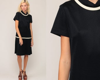 1960s Mod Dress Black Dress Scooter Dress PLEATED Space Age 60s Mini Drop Waist GOGO Vintage Minidress Twiggy Large