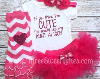 If you think im cute you should see my aunt personalized bodysuit! Optional Leg warmer and headband Uncle available too!