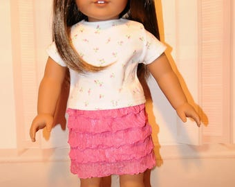 Pink Ruffled Skirt with Rosebud T-shirt Outfits