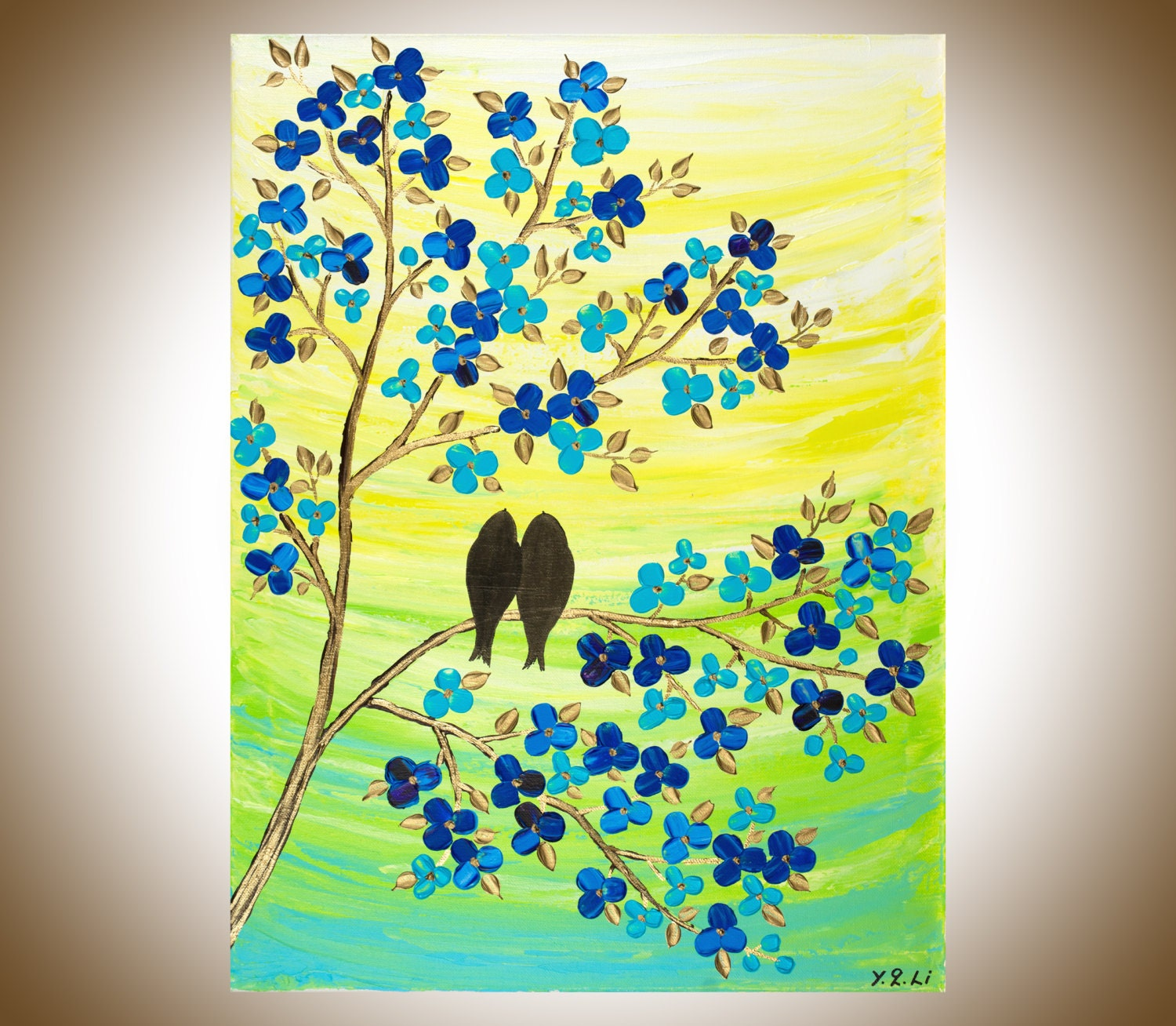 Blue yellow green birds painting wall art wall decor painting