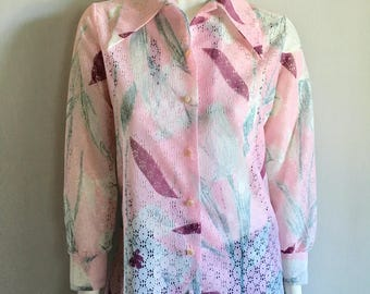 Vintage Women's 70's Disco Blouse, Pink, White, Long Sleeve (M)