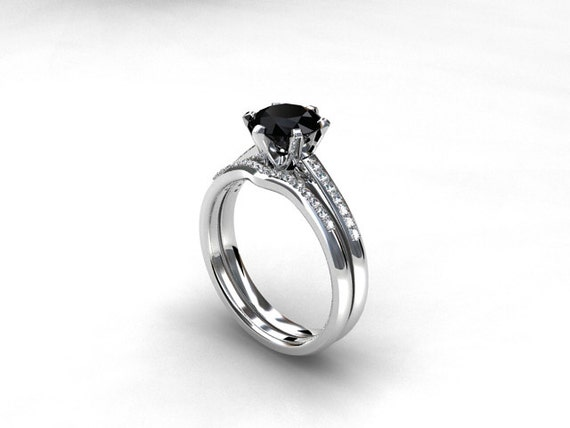 engagement ring set black diamond engagement Diamond band