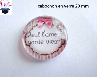 1 cabochon clear 20mm theme love message