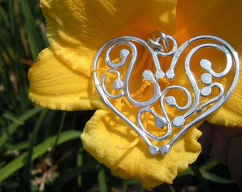 Fanciful Heart Sterling and Fine Silver Pendant