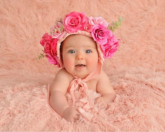 Floral Bonnet Prop | Floral Baby Bonnet | Floral Baby Hat Photos