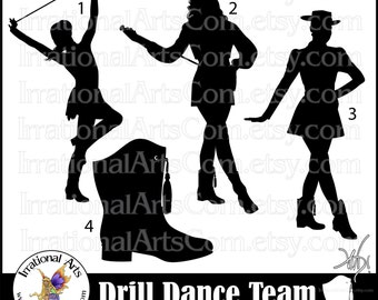 Drill Dance Team Silhouettes set 1 - 4 png digital graphics [INSTANT DOWNLOAD]