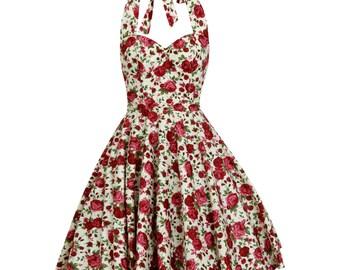 Christmas Dress Rose Dress Floral Bridesmaid Dress Floral Dress Vintage Dress Plus Size Dress Pin Up Dress 50s Dress Prom Dress Party Dress