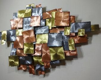 Mid Century Modern Brutalist Torch Cut Metal Wall Sculpture Bertoia Jere Era (PureVintageNYC)
