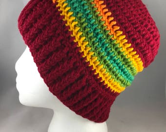 Sale 25% off Red Striped Beanie Style Handmade Crocheted Winter Hat