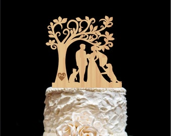 Wedding Cake Topper With Dog Rustic Wedding Cake Topper  Cat- Silhouetee Cake Topper Wedding Cake Topper