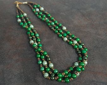 Green Necklace, Statement Necklace, Multistrand Necklace, Green, Bead Necklace, Pearl Necklace, Glass, Chunky Necklace, Emerald, Bronze