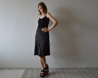vintage dark grey jersey drop waist pleated knee length skirt