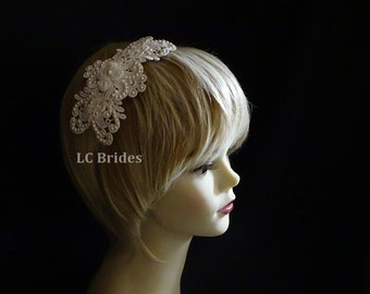 Bridal Lace Headband, Lace Headband with Pearls, Bridal Lace Hairpiece