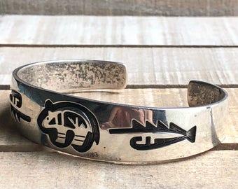 Vintage Native American Hopi handmade sterling silver cuff bracelet