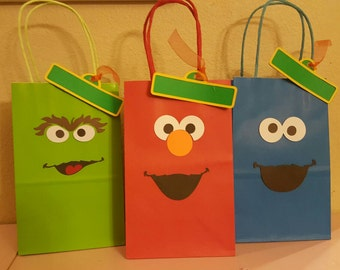 Elmo and friends inspired party bags, party favors, treat bags