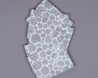 Patterned Note Cards | Set of 6,  A2,  Silver, Gray, Circles, Blank, Hand Printed, Note Card Set, Unique Stationery, With Envelopes