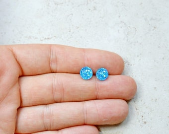Tiny Blue Druzy Earrings, 8mm Round Druzy Earrings, Metallic Glitter Sapphire Blue Faux Drusy Posts Glittering Stainless Steel Studs
