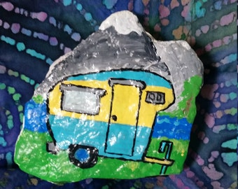 Happy Camper Painted Rock