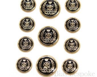 Sets of Gold and Black Enamel Coat of Arms Buttons, Made in Italy