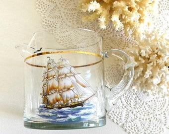 vintage boat glass pitcher barware nautical decor glass pitcher boat sailboat