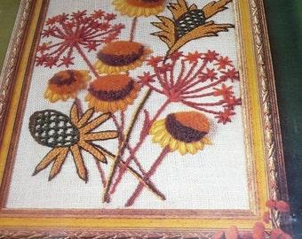 Vintage Pauline Denham Pom Pom Flowers Crewel Embroidery Kit