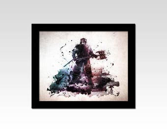 Lord of the Rings inspired Gimli watercolour effect print