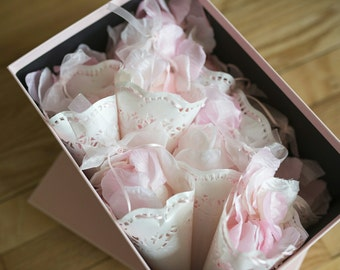 Wedding Cones, Wedding Doily, Wedding toss, Toss cone, Confetti cone, Petal cone, Flower Petal Toss, Hangs beautifully from chairs/ pews.