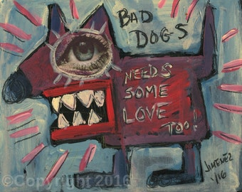 "Outsider Art Print - Art Brut - Primitive art Print, Rare art, Folk Art    ""Bad Dogs...."
