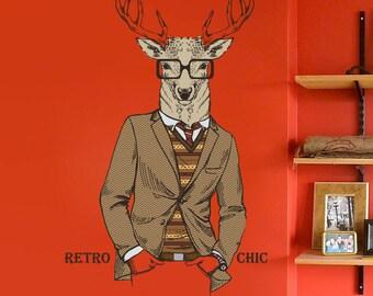 Deer Wall Decal - Deer Buck Wall Sticker - Retro Fashion Deer Wall Decor Art - Deer Boho Hippie Style Decoration - Deer Hipster Decor mc169