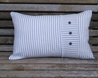 Farmhouse Pillow Cover/ Ticking Striped Cushion Cover/ 12×18 inch Lumbar Throw Pillow/ Custom sizes/ Rustic Decor cottage and cabin