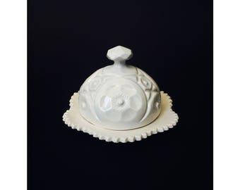 Vintage White Ceramic Butter Dish