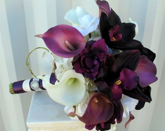 Wedding bouquet - Plum real touch calla lily orchid bridal bouquet