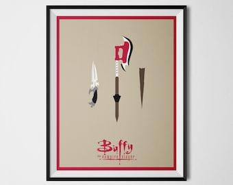 Buffy the Vampire Slayer Poster Minimal Art Print Scythe Knife Wooden Stake Buffy Wall Art 90s TV Show Minimalist Digital Art Buffy Poster