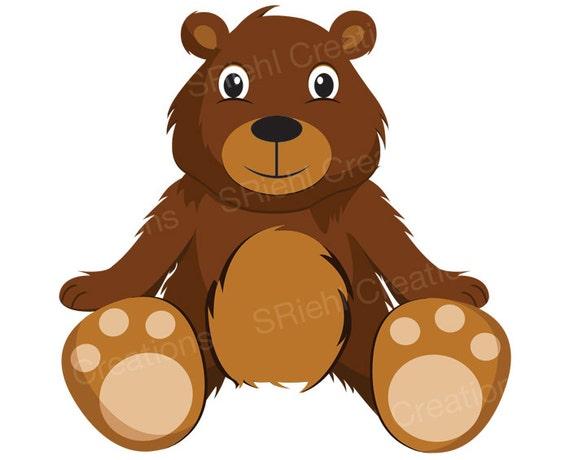 teddy bear clipart cute bear clip art digital download bear cub rh etsystudio com black bear cub clipart bear cub clipart