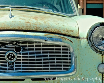 Classic Car Print, Vintage Car Print, Old Car Photography, Rambler Car Art Print, Rusted Car Art for Dad Gift, Mint Green Rustic Wall Art